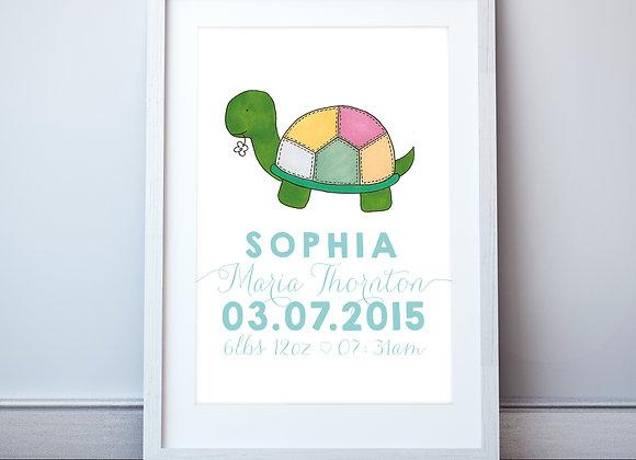 Personalised Tortoise Wall Print