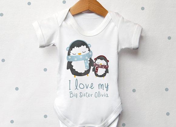 Personalised Penguin Sibling Vest
