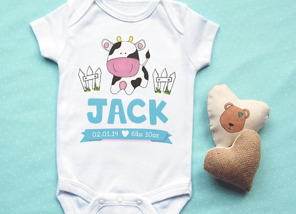 Personalised Cow Baby Vest