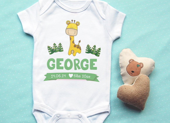 Personalised Giraffe Baby Vest