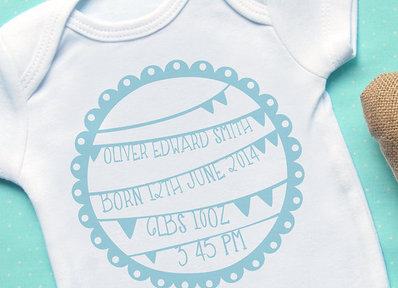 Personalised Bunting Blue Announcement Vest