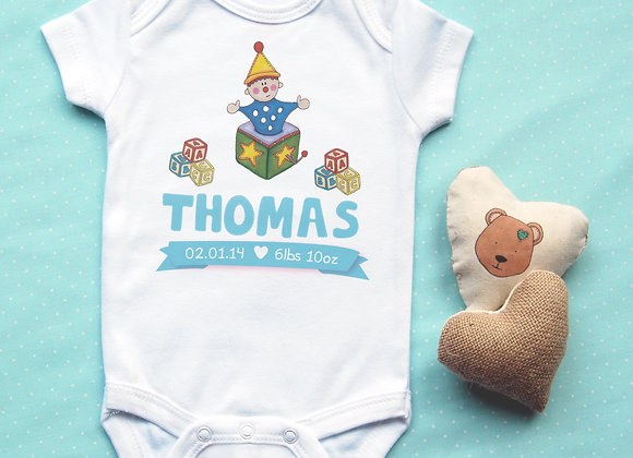 Personalised Jack-in-a-box Baby Vest