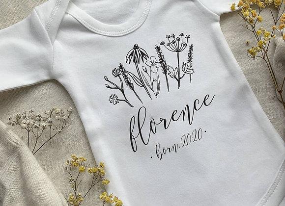 Wildflower Personalised Baby Vest