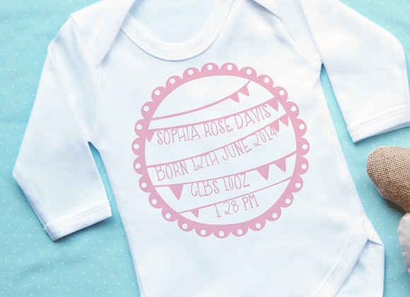 Personalised Bunting Pink Announcement Vest