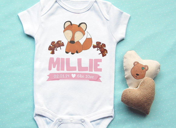 Personalised Fox Baby Vest