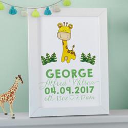Safari Giraffe Nursery Wall Art Personalised