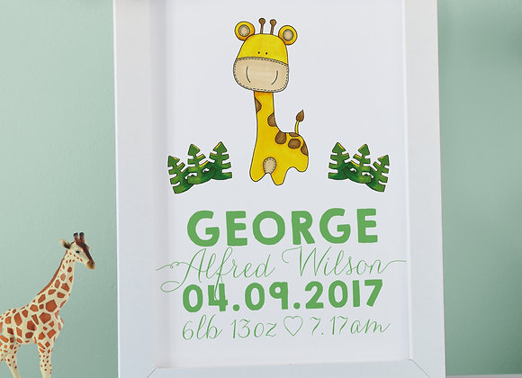 Personalised Giraffe Wall Print