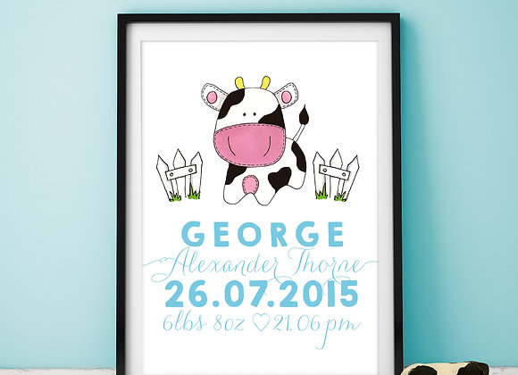Personalised Cow Wall Print