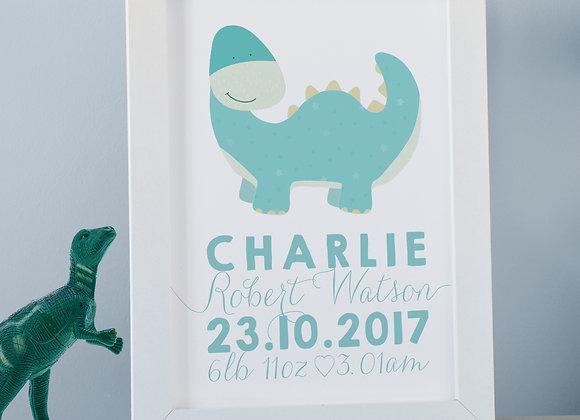 Personalised Dinosaur Wall Print