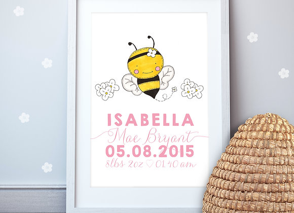 Personalised Bumble Bee Wall Print