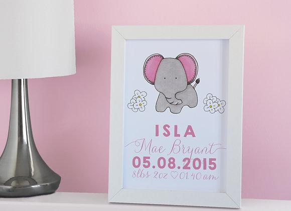 Personalised Elephant Wall Print