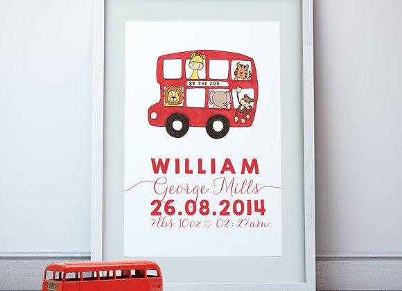 Personalised London Bus Wall Print