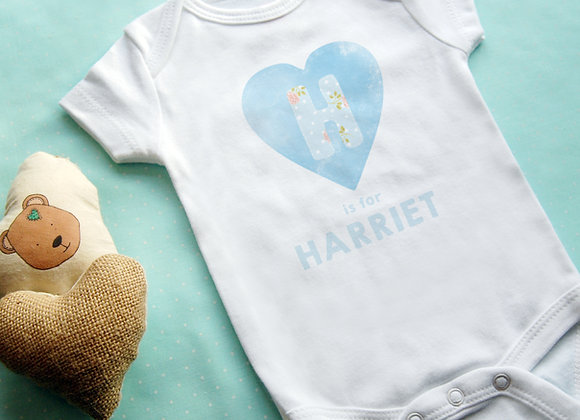 Personalised HEART babygrow - Rose Blue