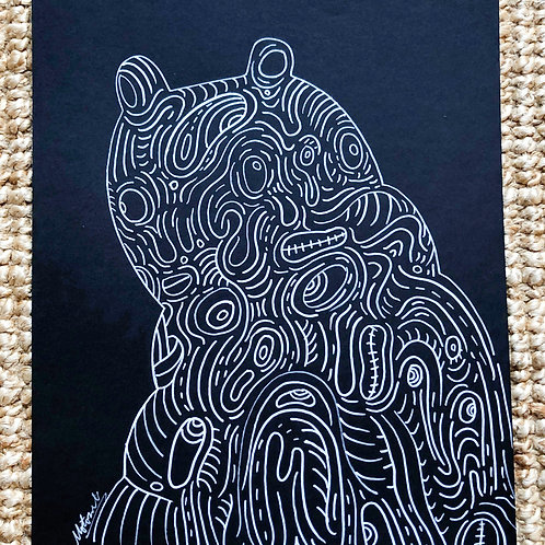 White drawing - Cats and a cat with hoodie