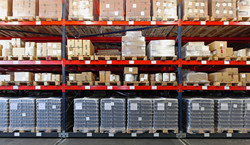 Warehouse Shelves with palette spaces