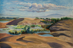 6-V.Tverdokhlebov. Spring in dunes in River Ili valley. 1996. Oil on canvas