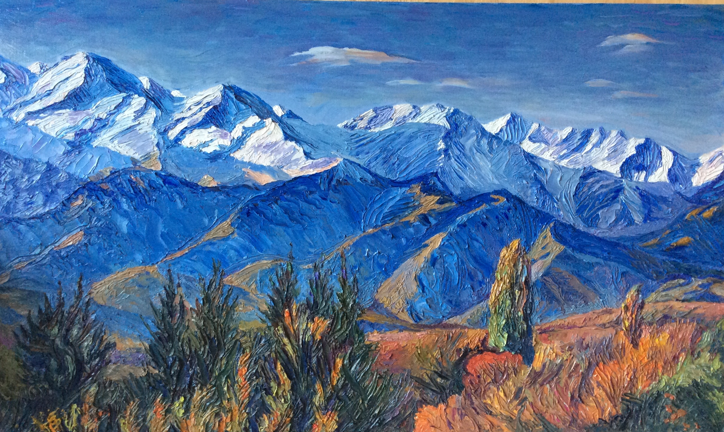 Almaty Mountains - painting for Samal and Alimkhan-100x60cm-Oct2017