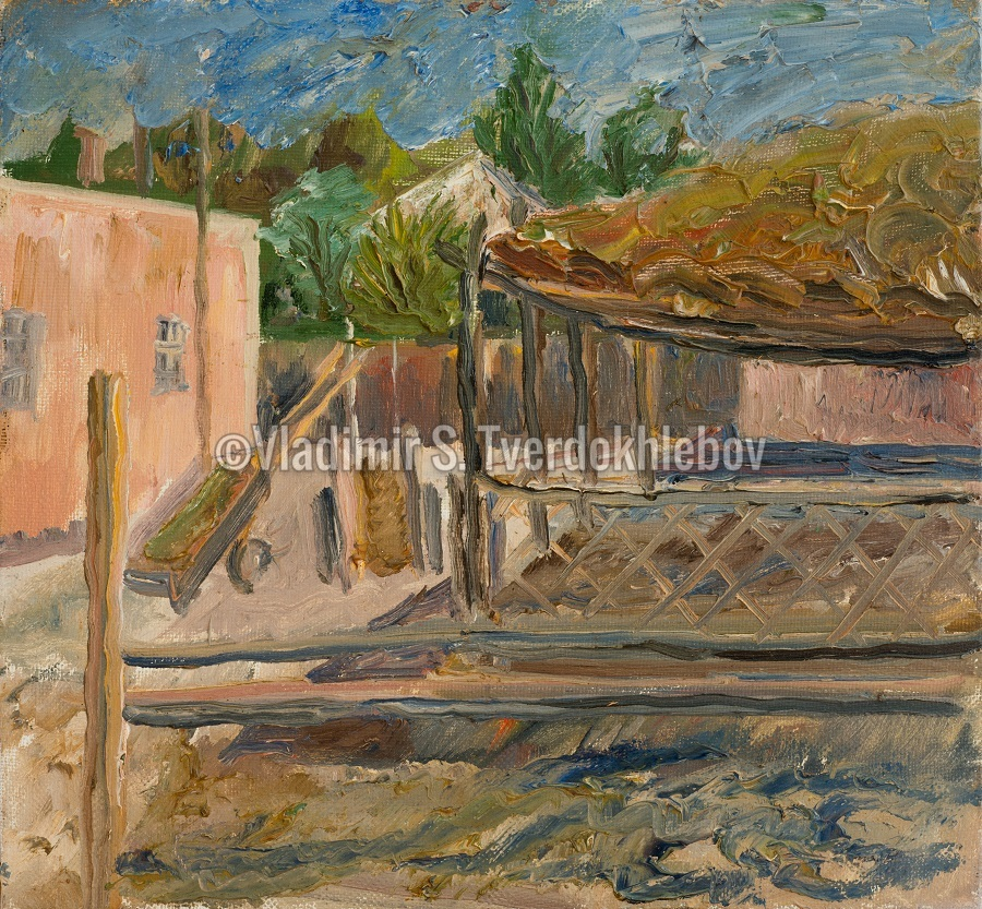 17-V.Tverdokhlebov. Farmer courtyard in Charyn valley. 1995. Oil on canvas