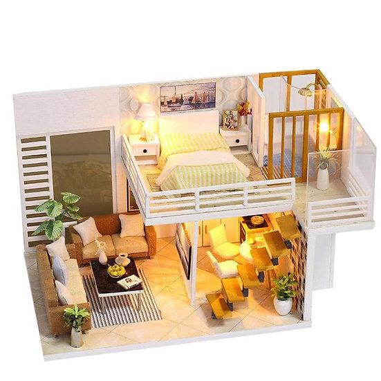 Wooden Large Doll House Modern City Loft Kit