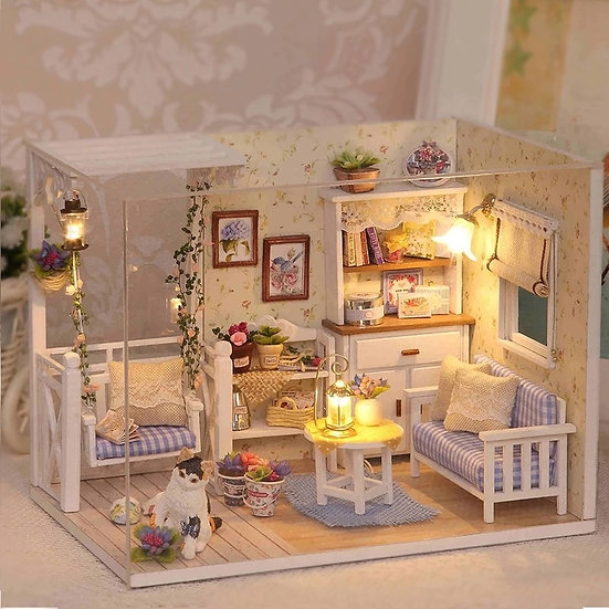 DIY, Wooden Dollhouse , Furniture With Dust Cover