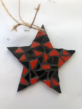 Star Xmas tree decoration - red and black
