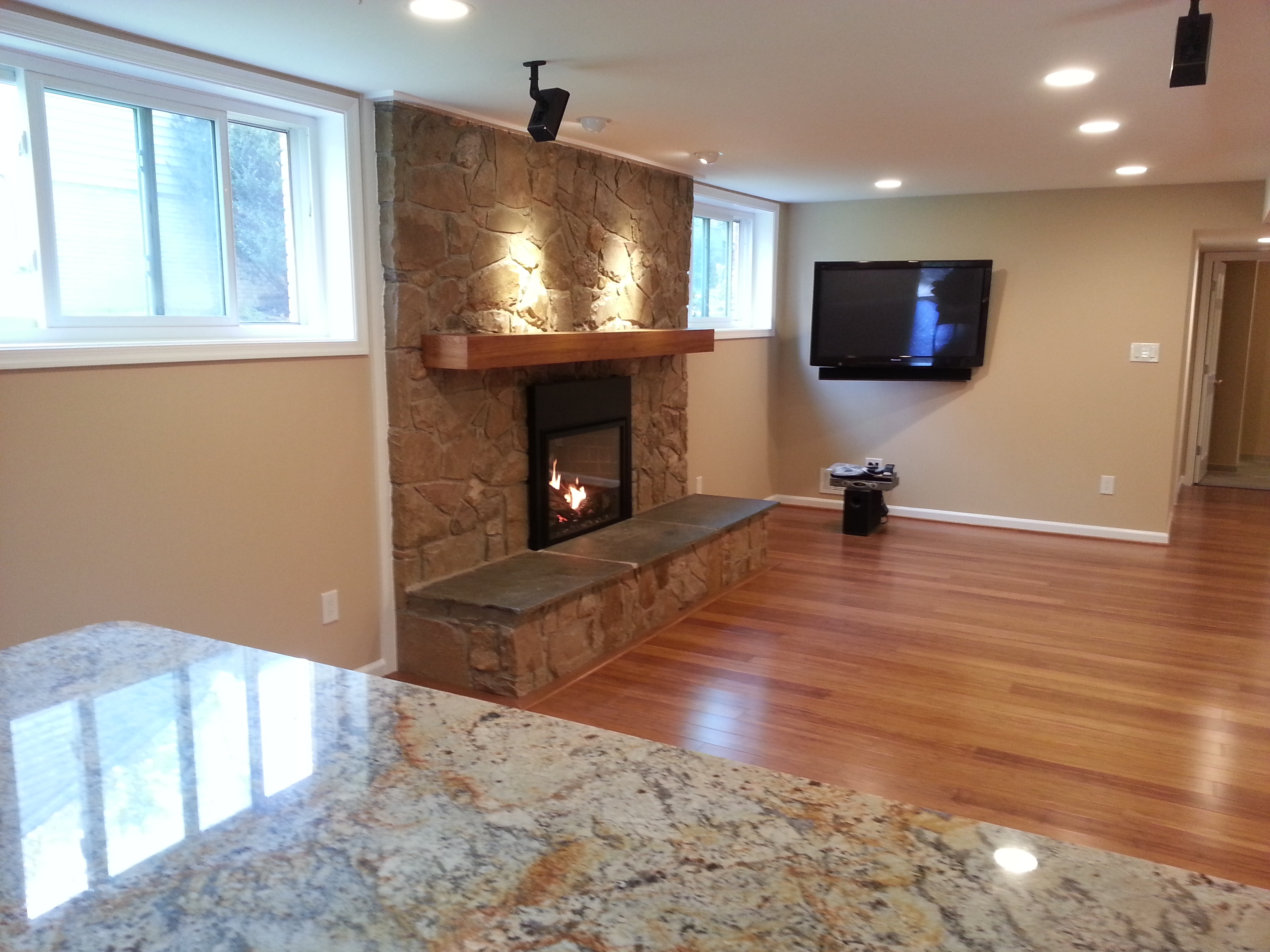 REC ROOM STONE FIREPLACE