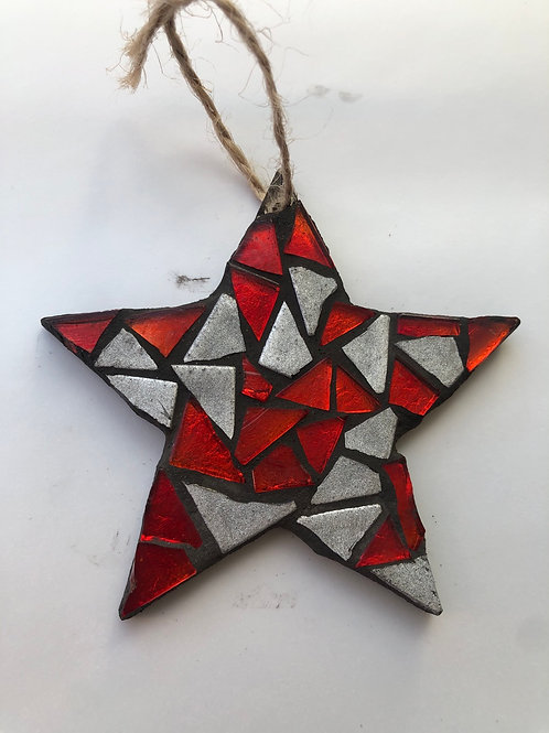 Star Xmas tree decoration - red and silver