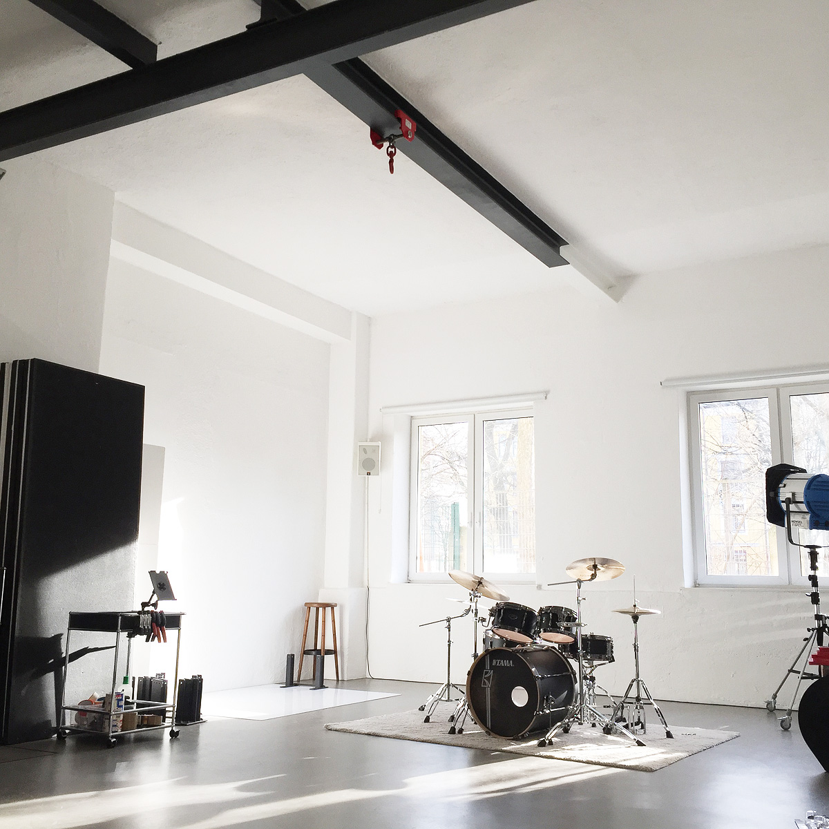 loft with drum set