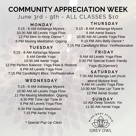 COMMUNITY APPRECIATION WEEK SCHEDULES vC