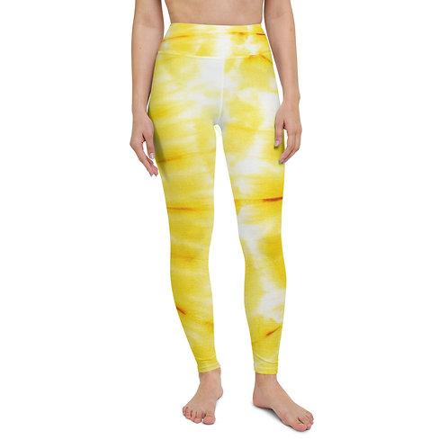 Yoga Leggings - Yellow Tie Dye