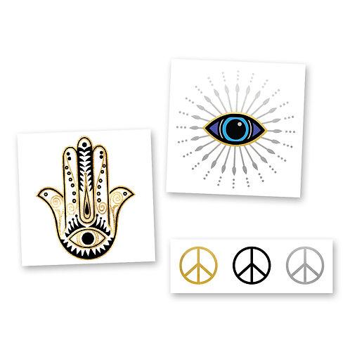 Wanderer Mini Variety Set - Metallic Temporary Flash Tattoos