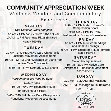 COMMUNITY APPRECIATION WEEK SCHEDULES vE