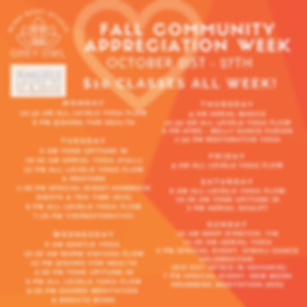 SCHEDULE FALL COMMUNITY APPRECIATION WEE