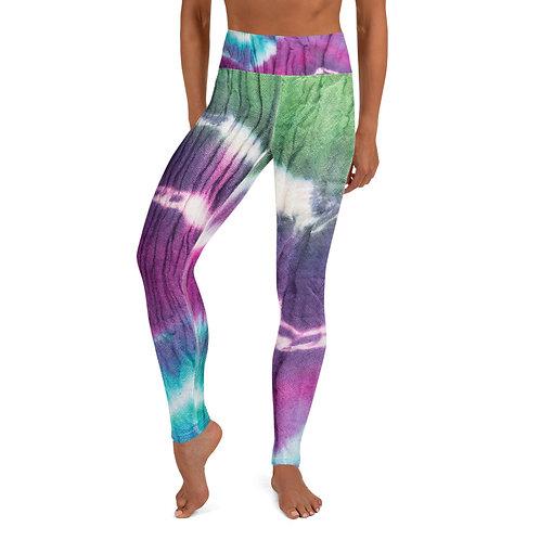 Yoga Leggings - Green/Magenta/Blue Tie Dye