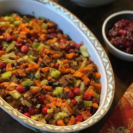 Sweet potato & cranberry stuffing