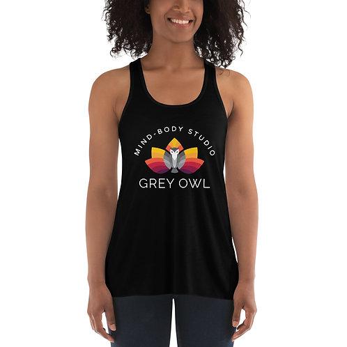 Grey Owl Color Logo - Women's Flowy Racerback Tank