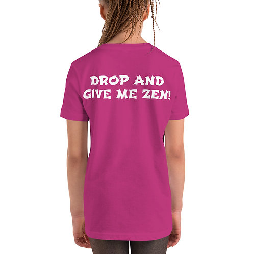 Grey Owl Color Logo (Drop and Give Me Zen on back) - Kids Short Sleeve T-Shirt