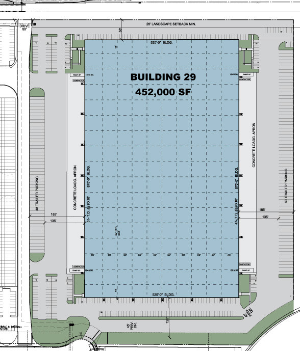 Site plan drawing of building 29