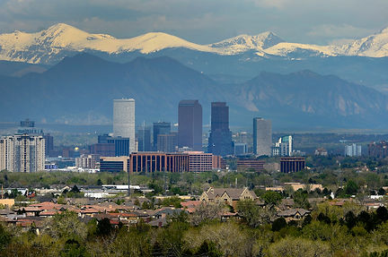 Aurora, Colorado skyline with mountains in the background
