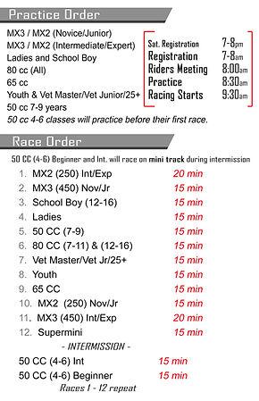 Peace Motocross Association Race Schedule