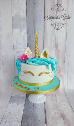Unicorn Cake gold and turquise