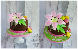 Pink wafer paper lily drip cake.