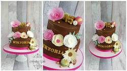 Wafer paper flower cake.