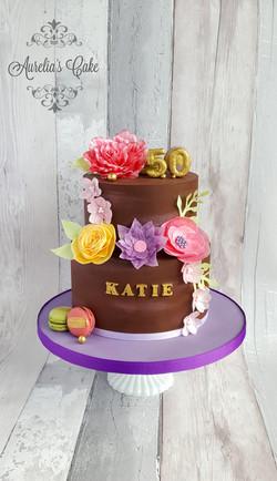Flower 50th birthday cake