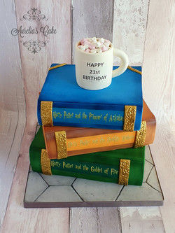 Stack of Harry Potter books cake