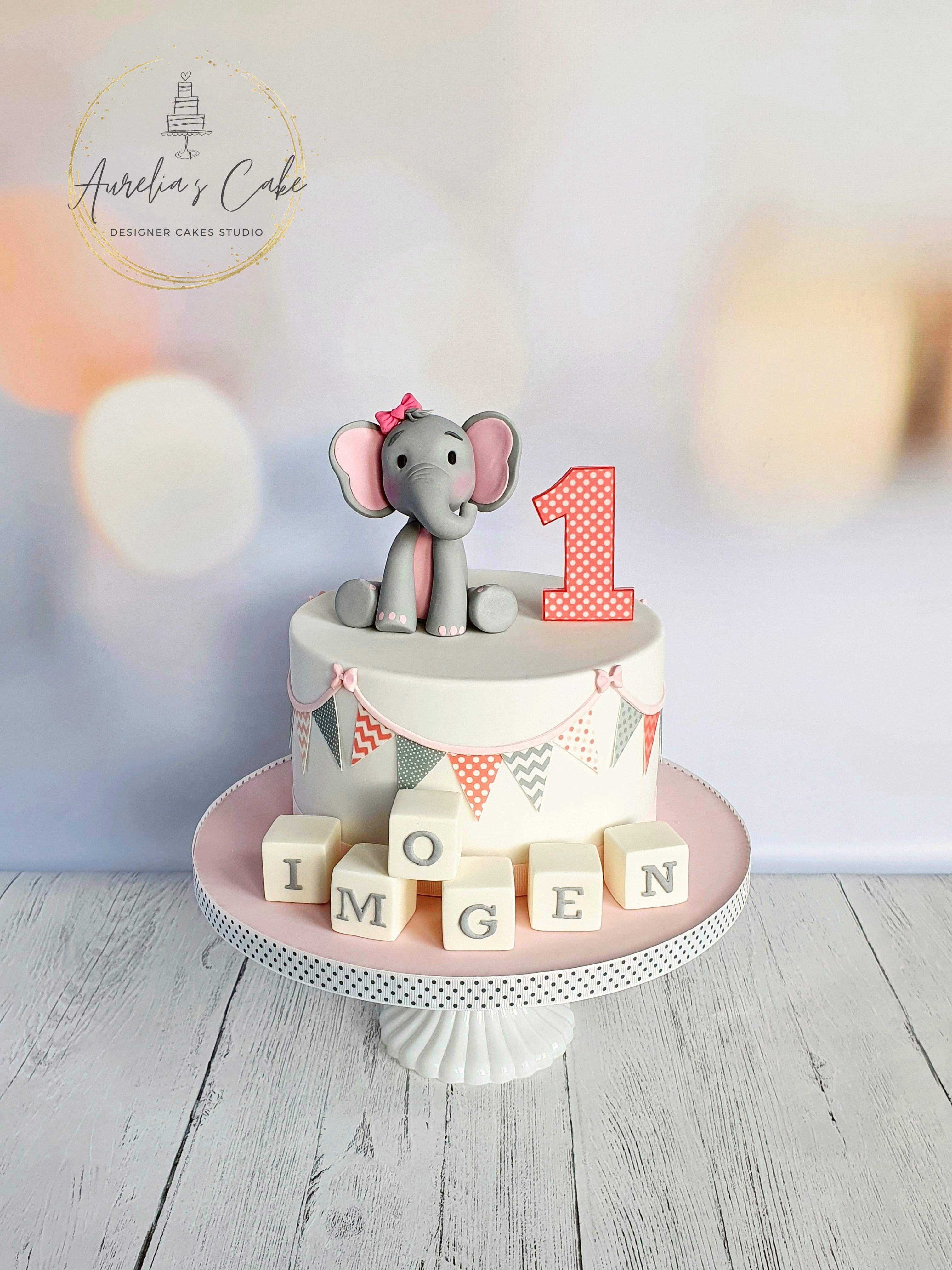 Elephant_First Birthday Cake