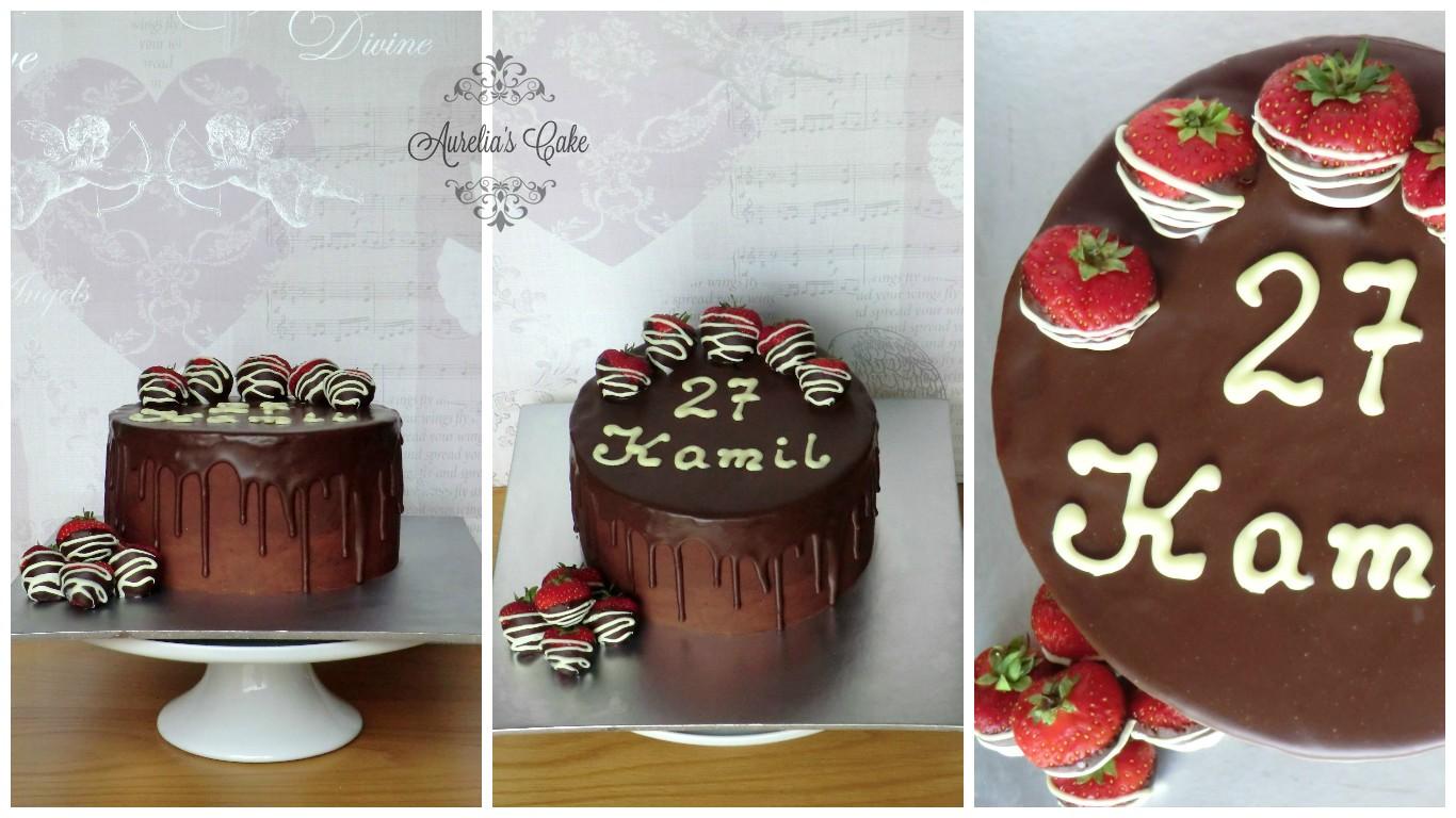 Chocolate and strawberries cake.