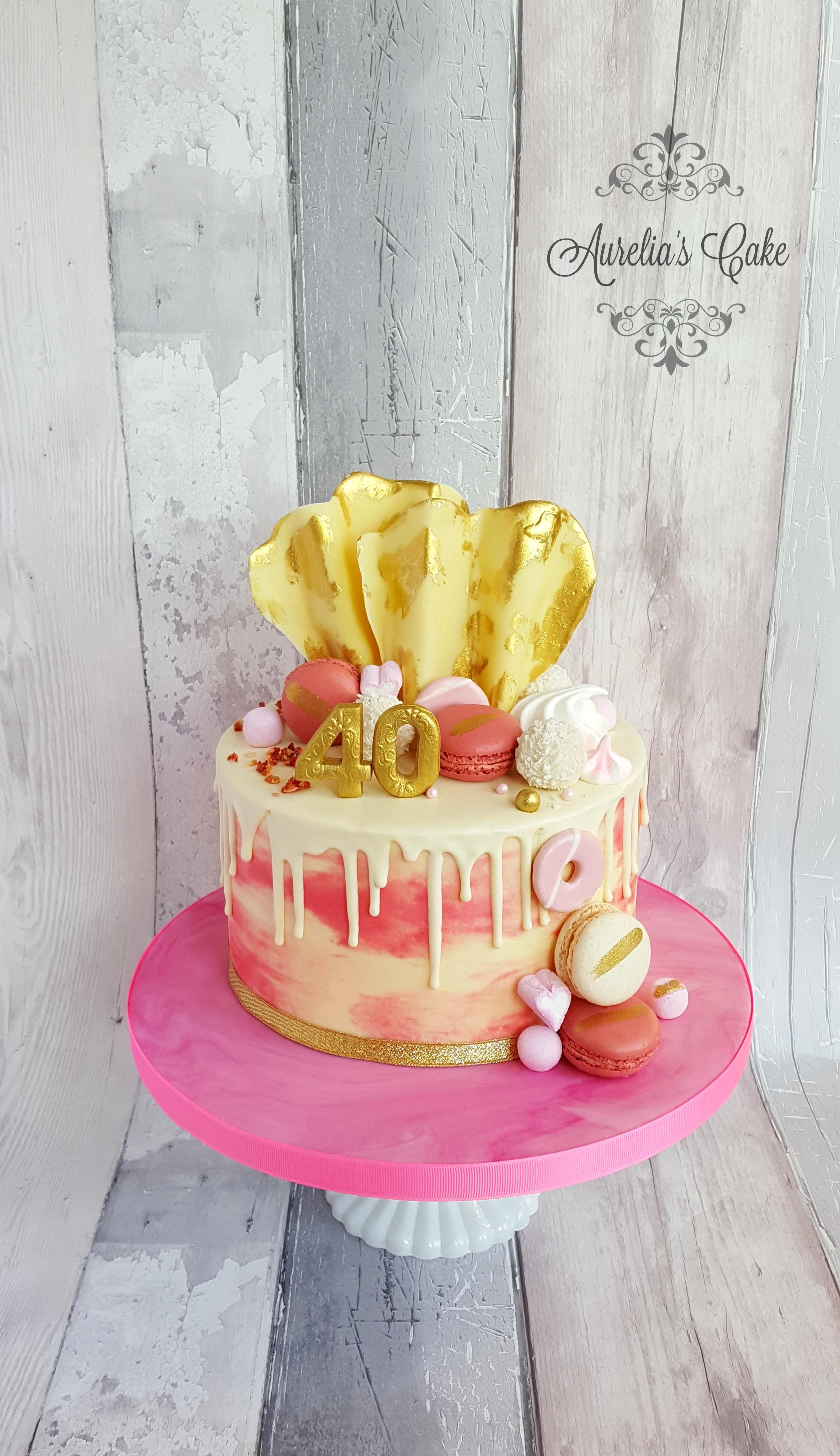Pink_Gold Drip Cake