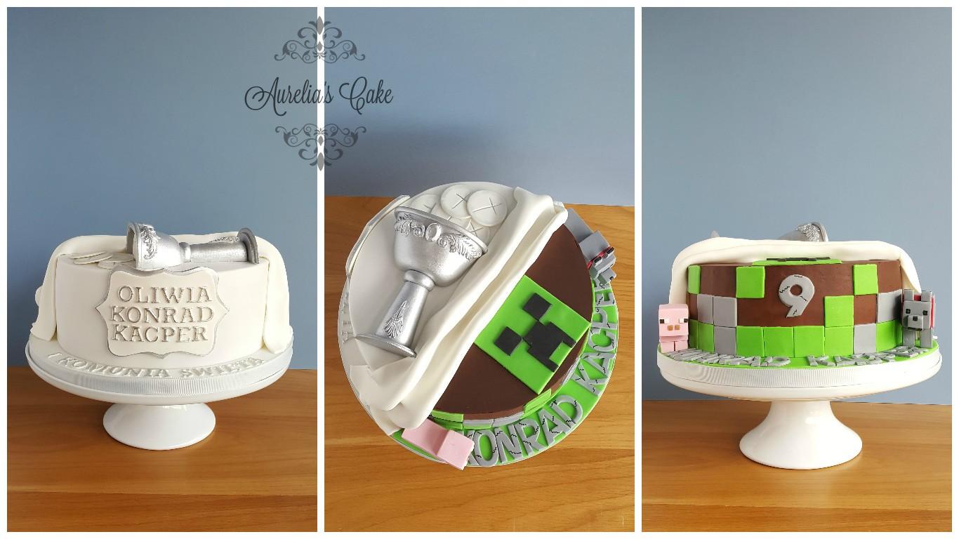 First communion/minecraft cake.