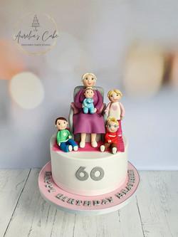Grandmother with Grandchildren Cake